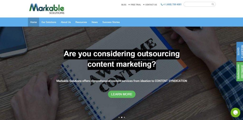 Markable Solutions ana sayfası