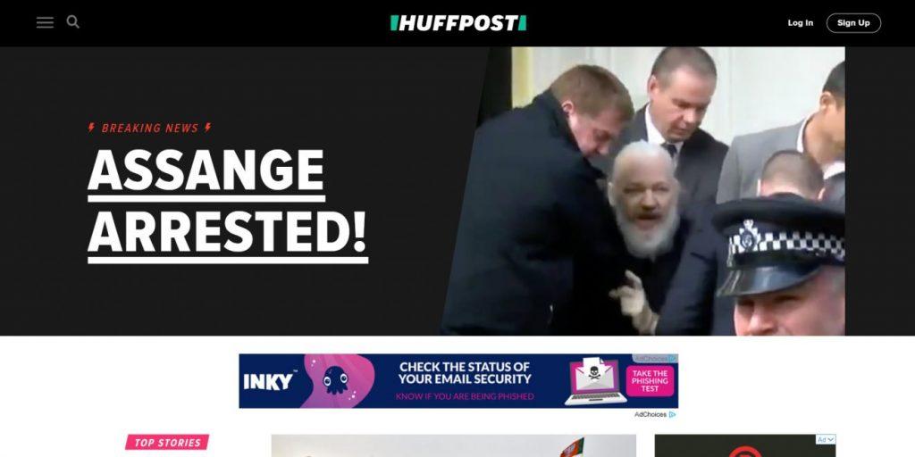 Huffing Post'un ana sayfası