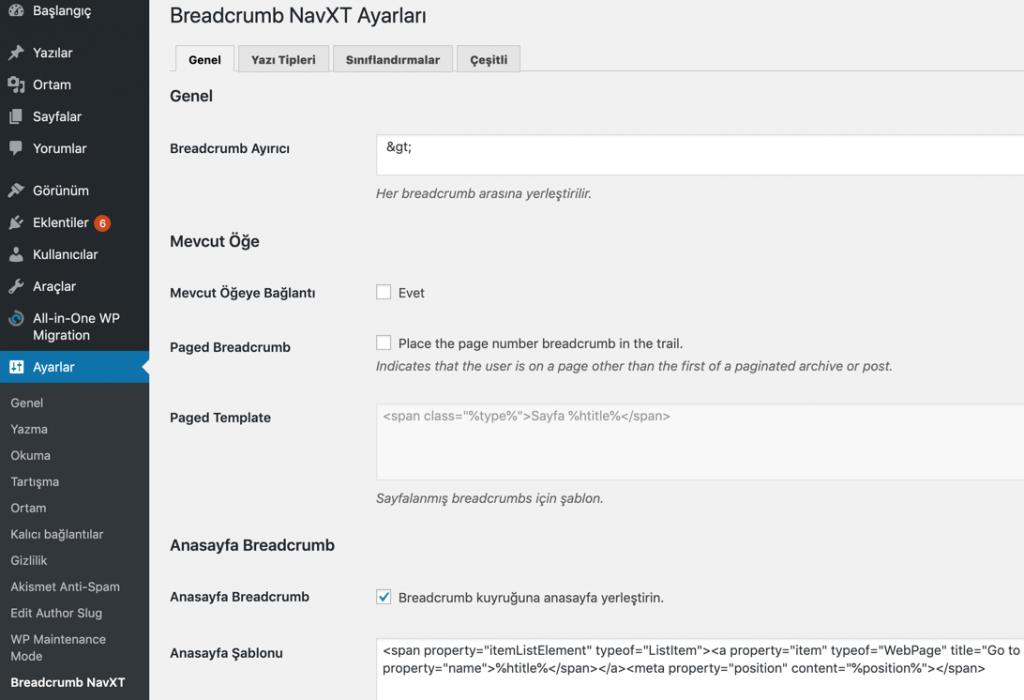 NavXT eklenti ayarları sayfası