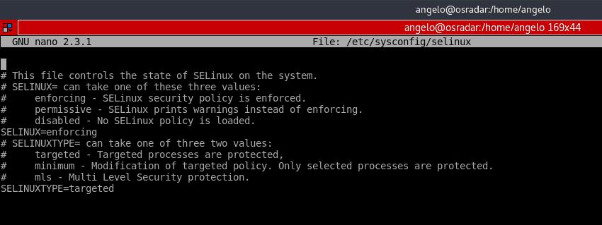 Selinux nedir: CentOS 7 Nano metin editöründe açılmış SELinux yapılandırma dosyası