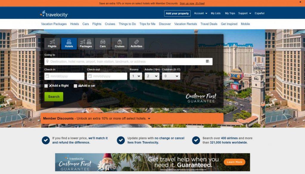 Travelocity ana sayfası