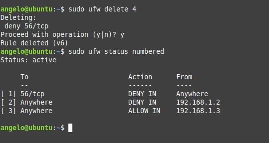 Ubuntu Firewall terminalinde görüntülenen UFW kural listesi