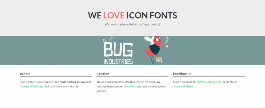 We Love Icon Fonts ana sayfası