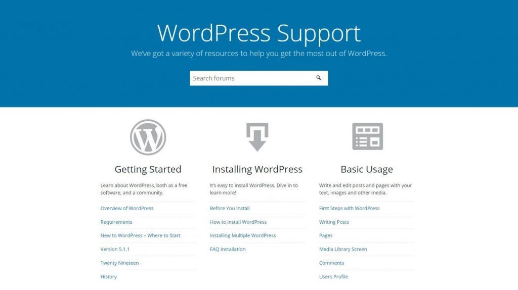 WordPress desteğin ana sayfası.