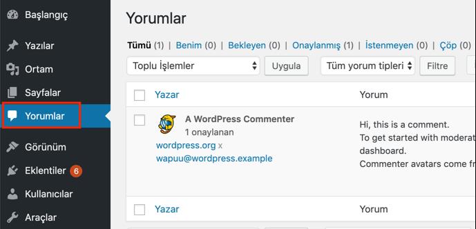 WordPress varsayılan yorum sistemi