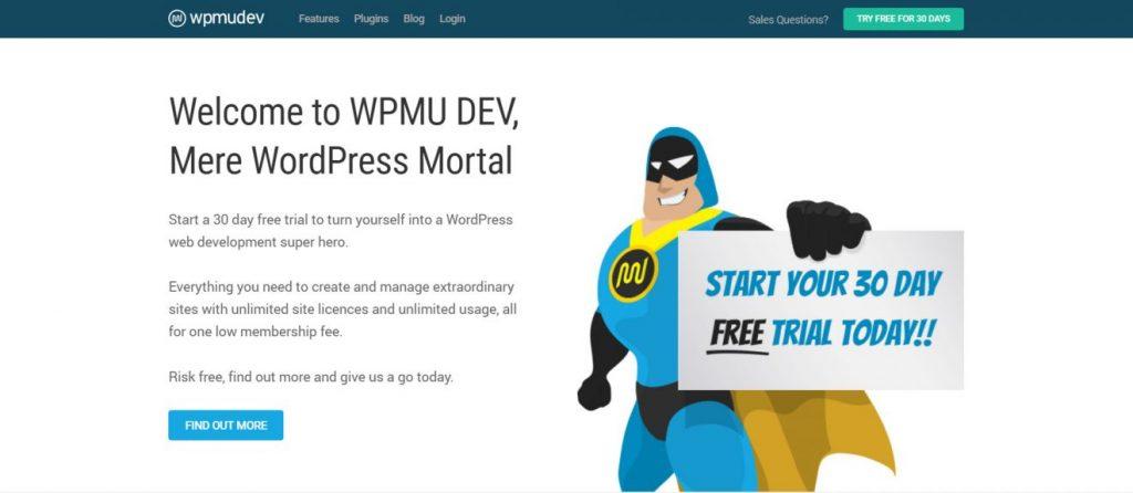 WPMU DEV'in ana sayfası