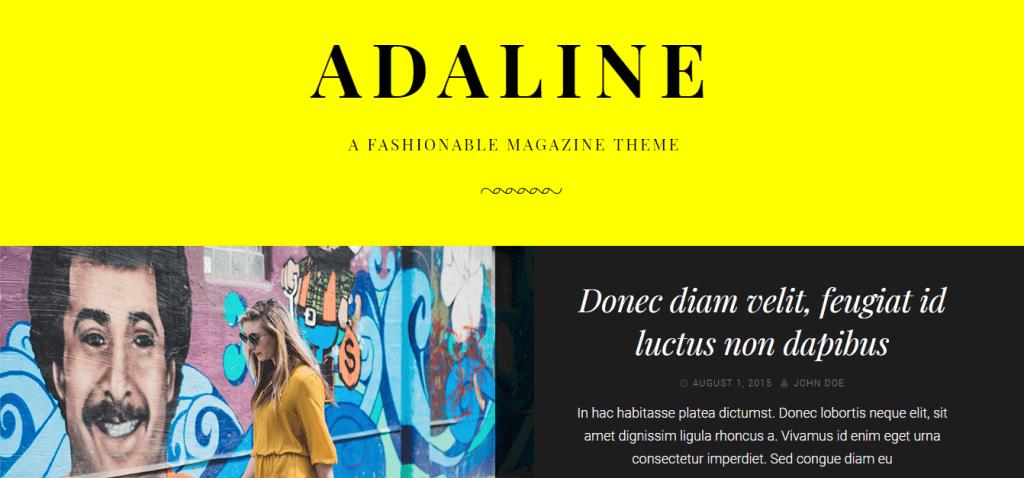 Adaline WordPress teması giriş sayfası