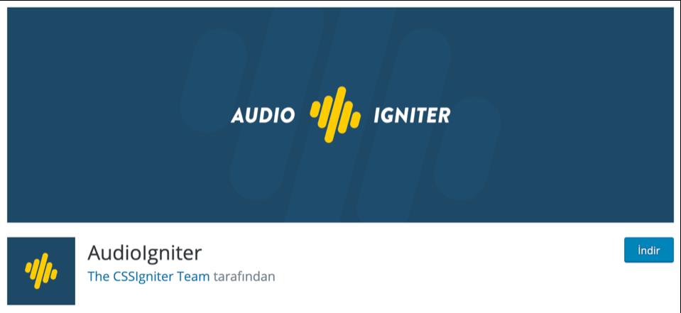 Audio Igniter WordPress müzik ekleme eklentisi