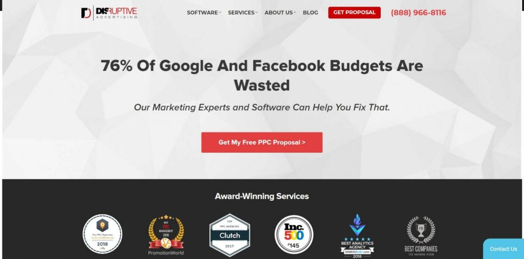 Disruptive Advertising pazarlama şirketinin ana sayfası