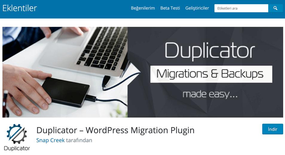 Duplicator WordPress site taşıma eklentisi