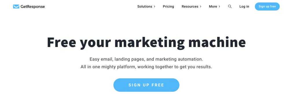 GetResponse email marketing hizmeti giriş sayfası