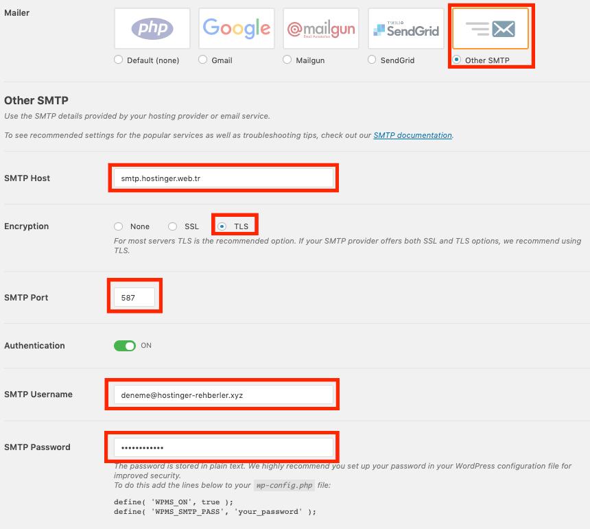 WP Mail SMTP eklenti ayarları