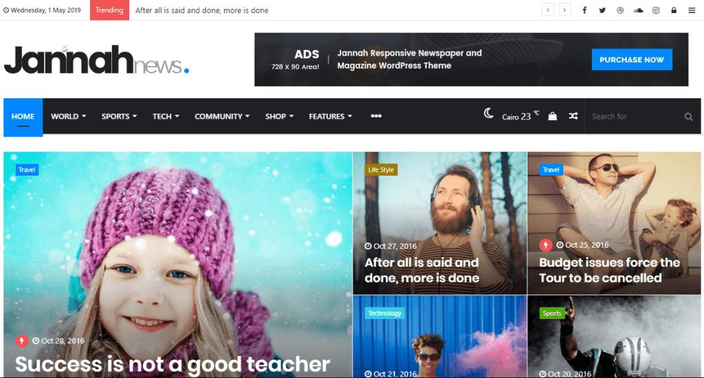 Jannah WordPress temasının giriş sayfası