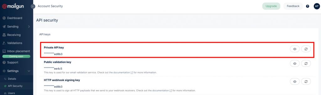 Mailgun Özel API Anahtarı