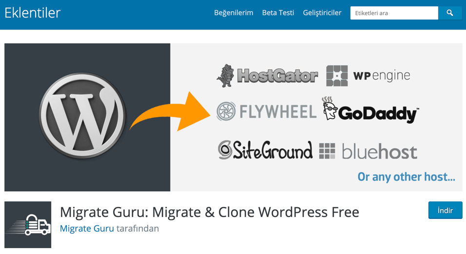 Migrate Guru WordPress site taşıma eklentisi