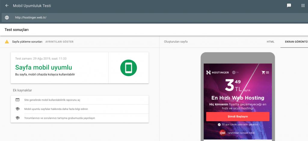 Sitenizin mobil cihazlar için optimize edilip edilmediğini görmek için mobil uyumluluk testini kullanın