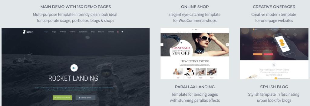 Scalia WordPress temasının giriş sayfası