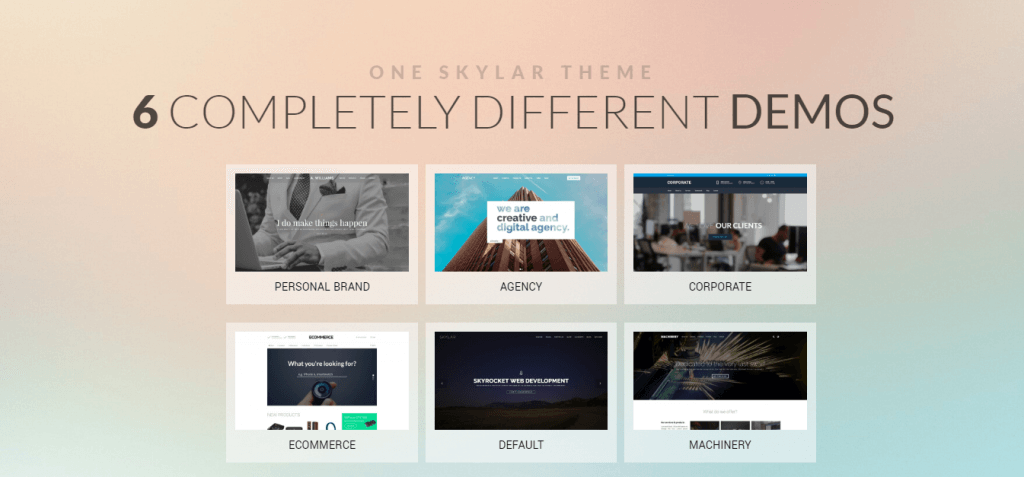 Skylar WordPress temasının giriş sayfası
