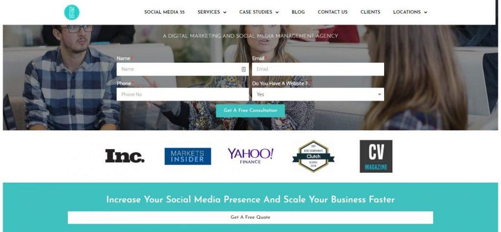 Social Media 55 pazarlama şirketi ana sayfası