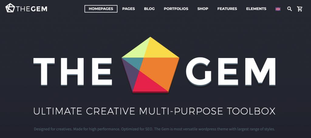 TheGem WordPress temasının giriş sayfası