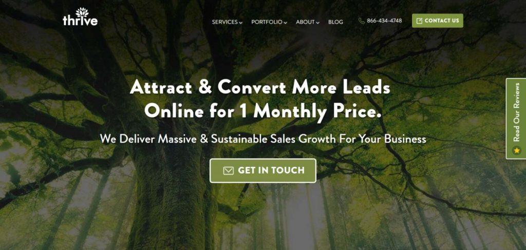 ThriveAgency dijitall pazarlama şirketinin ana sayfası