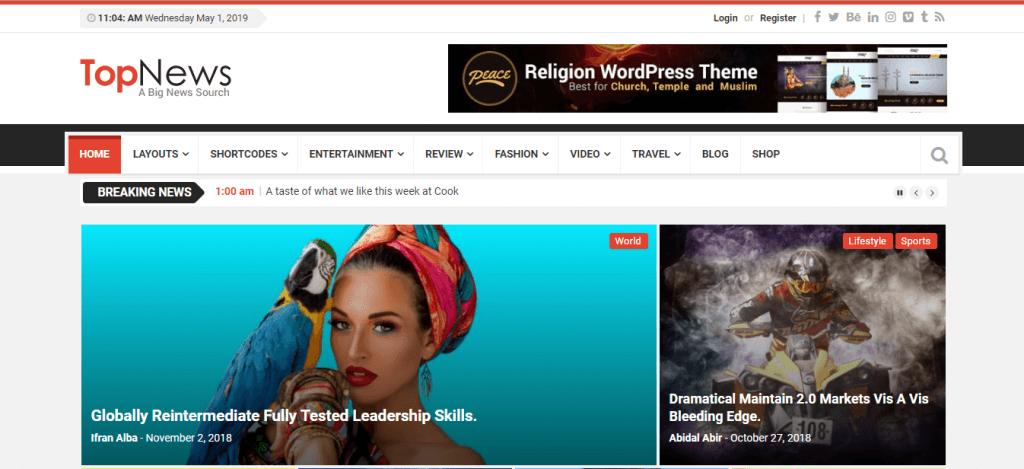 TopNews WordPress teması