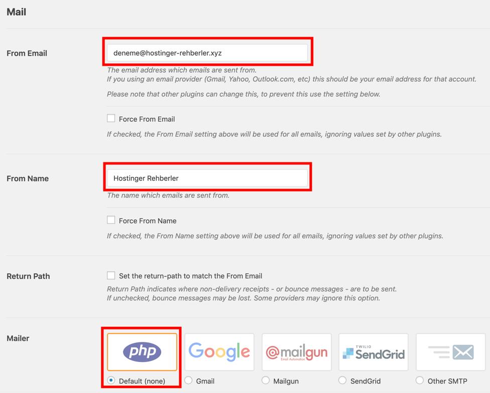 WP Mail SMTP eklentisinin ayarları