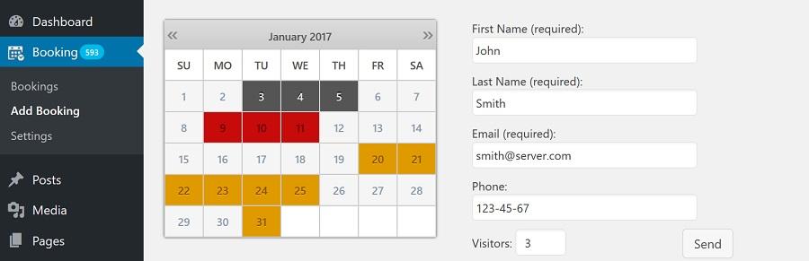 Booking Calendar WordPress rezervasyon eklentisi