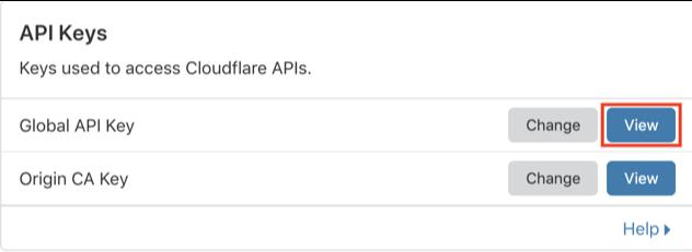 CloudFlare API anahtarı
