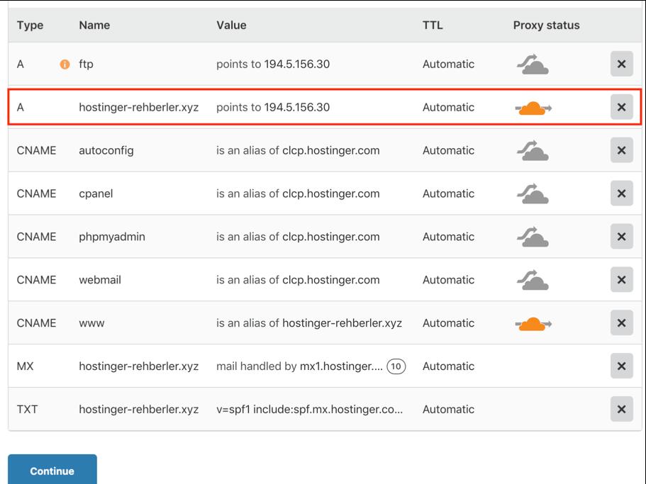 CloudFlare etkinleştirme/devre dışı bırakma