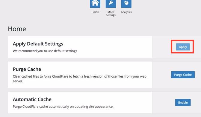 CloudFlare WordPress eklentisinin ayarları