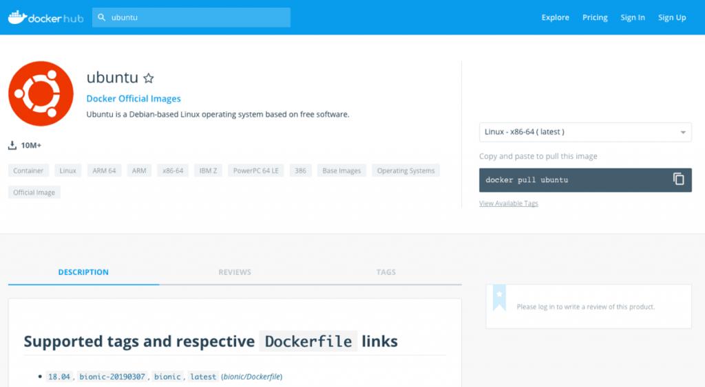 Docker dağıtıcısının imaj sayfası