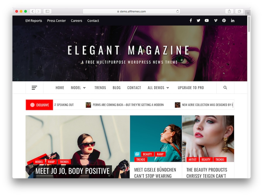 Elegant Magazine tema demosu