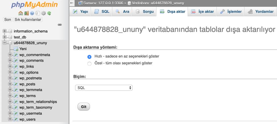 phpMyAdmin üzerinden MySQL veritabanını dışarı aktarma