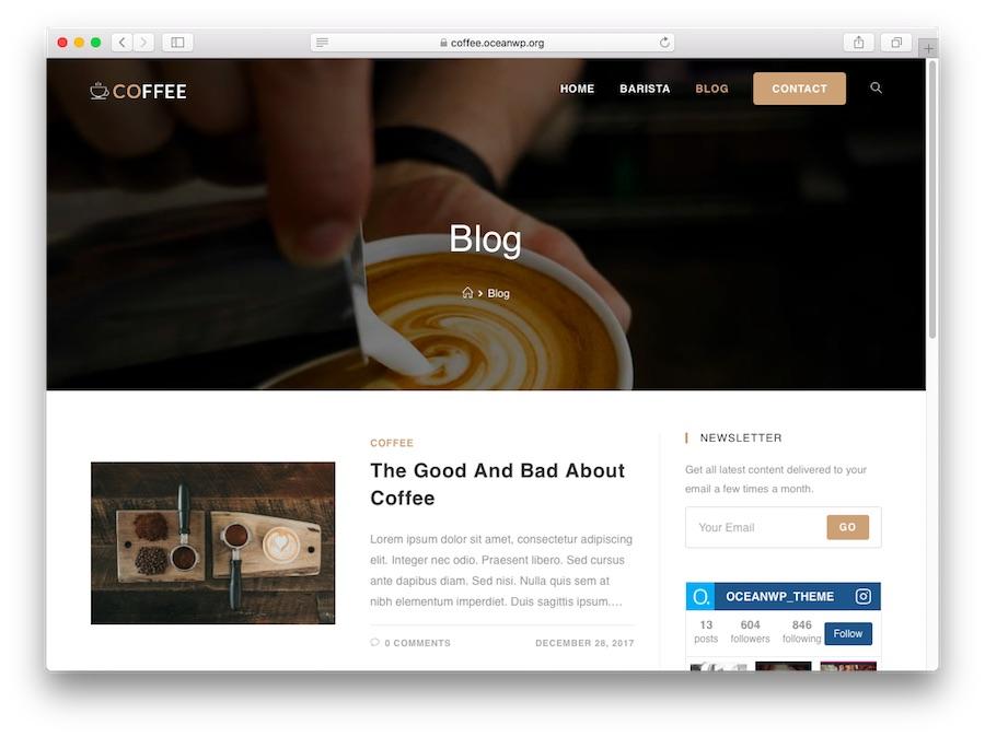 OceanWP bloglar için WordPress temasının demosu