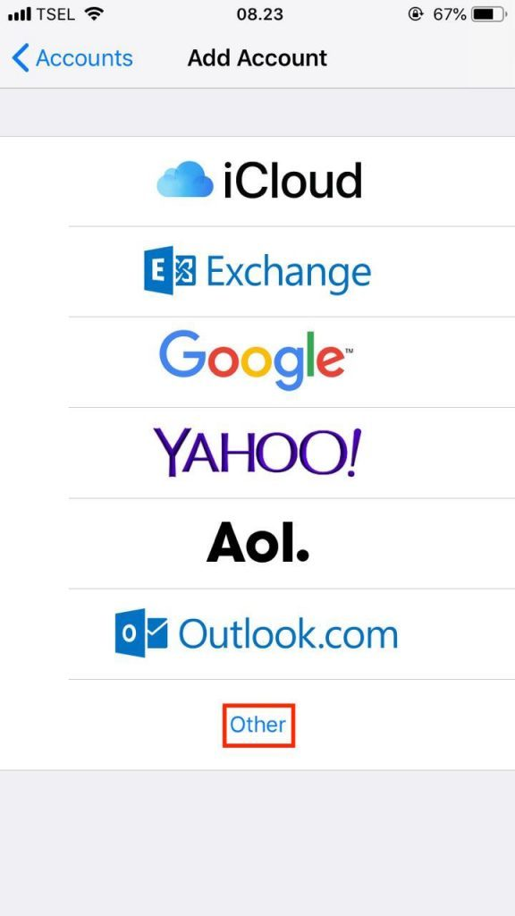 iPhone mail kurulumu için Diğer seçeneğini seçmek