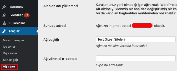 WordPress Araçlar ağ ayarı seçeneği