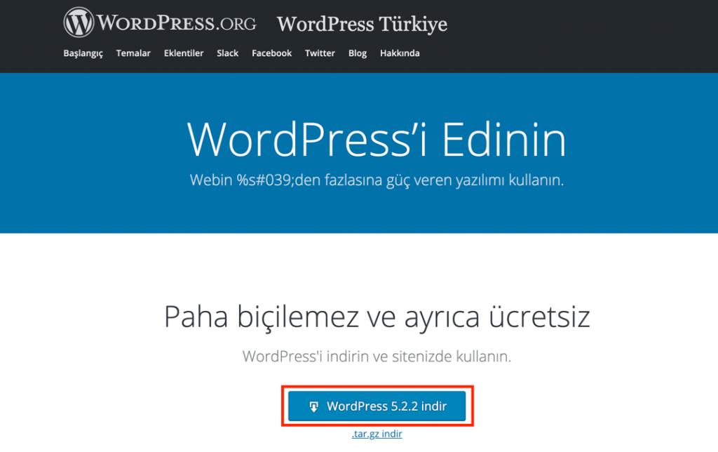 WordPress.org WordPress indirme sayfası