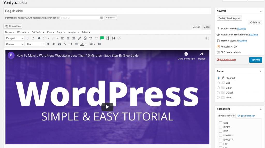 WordPress Yazı Editöründe Video Ekleme