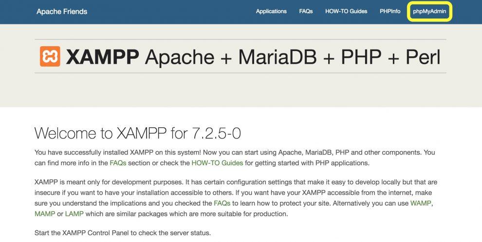 XAMPP kontrol paneli phpMyAdmin tuşu