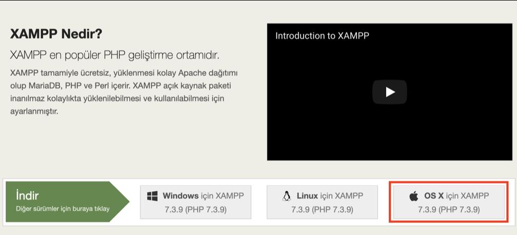XAMPP Mac İndirme butonu