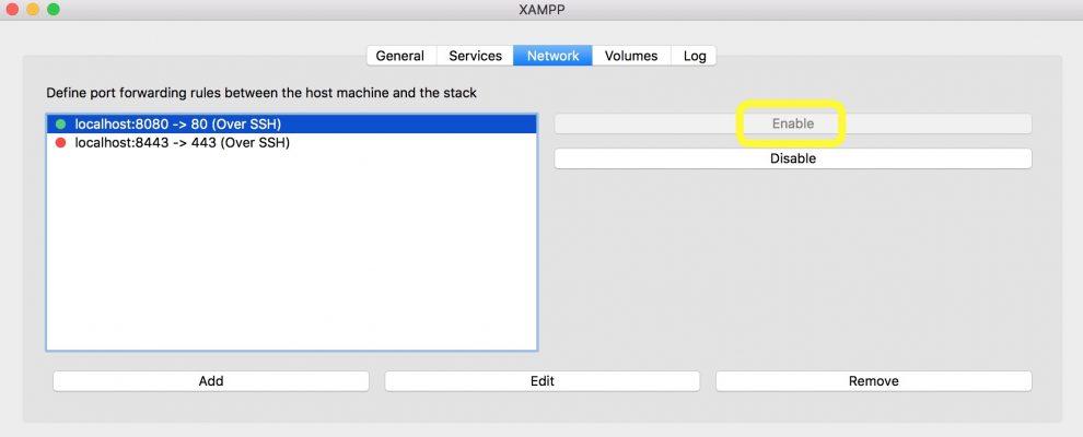 XAMPP Network sekmesi