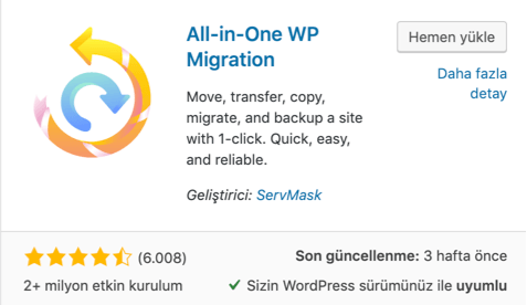 All in One WP Migration eklentisi