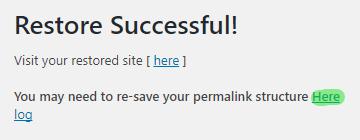WordPress yedeğini geri yükleme başarıyla sonuçlandı