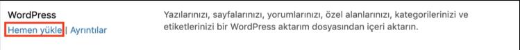 WordPress içe aktarıcıyı yükleme