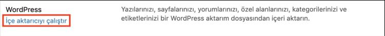 WordPress içe aktarıyıcı çalıştırma