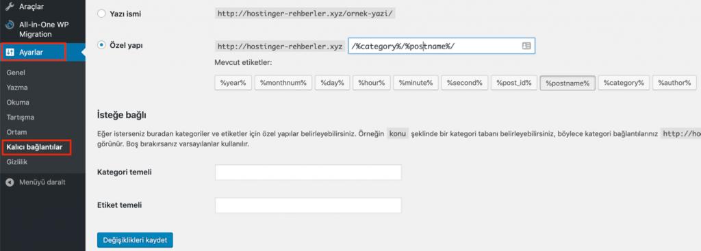 WordPress kalıcı bağlantı ayarlarını yeniden kaydetmek