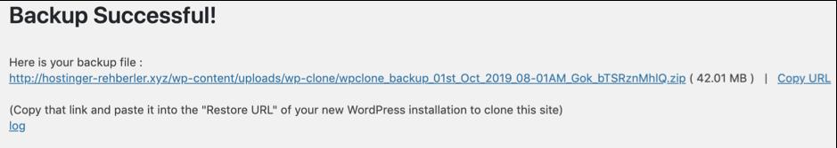 WP Clone yedekleme tamamlandı