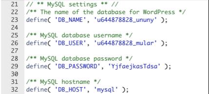 wp-config.php veritabanı ayarları