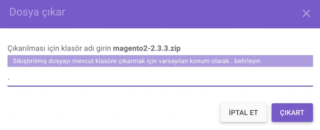Magento dosyasını dosya yöneticisinde arşivden çıkarma